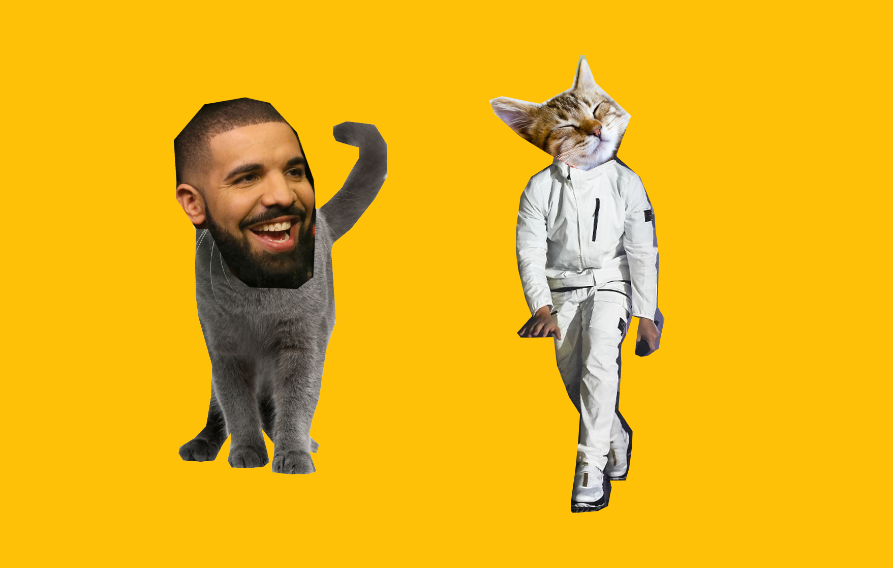 Left: Professional rapper Aubrey Drake Graham's head superimposed onto a gray cat's body. Right: A cat's head superimposed onto professional rapper Aubrey Drake Graham's body.