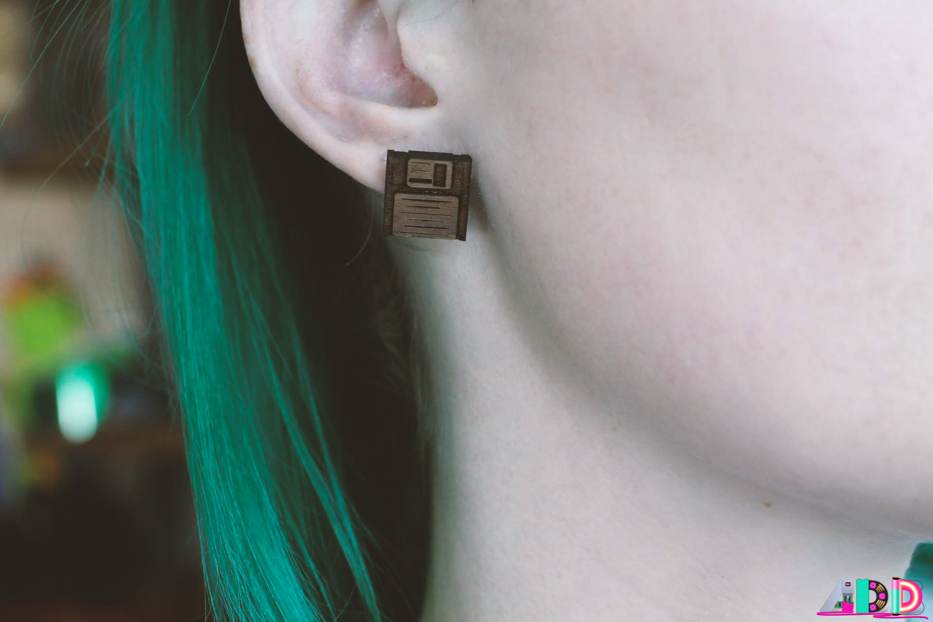"Laser Cut and Engraved Walnut Wood ""Save Me Floppy Disk"" Earrings"