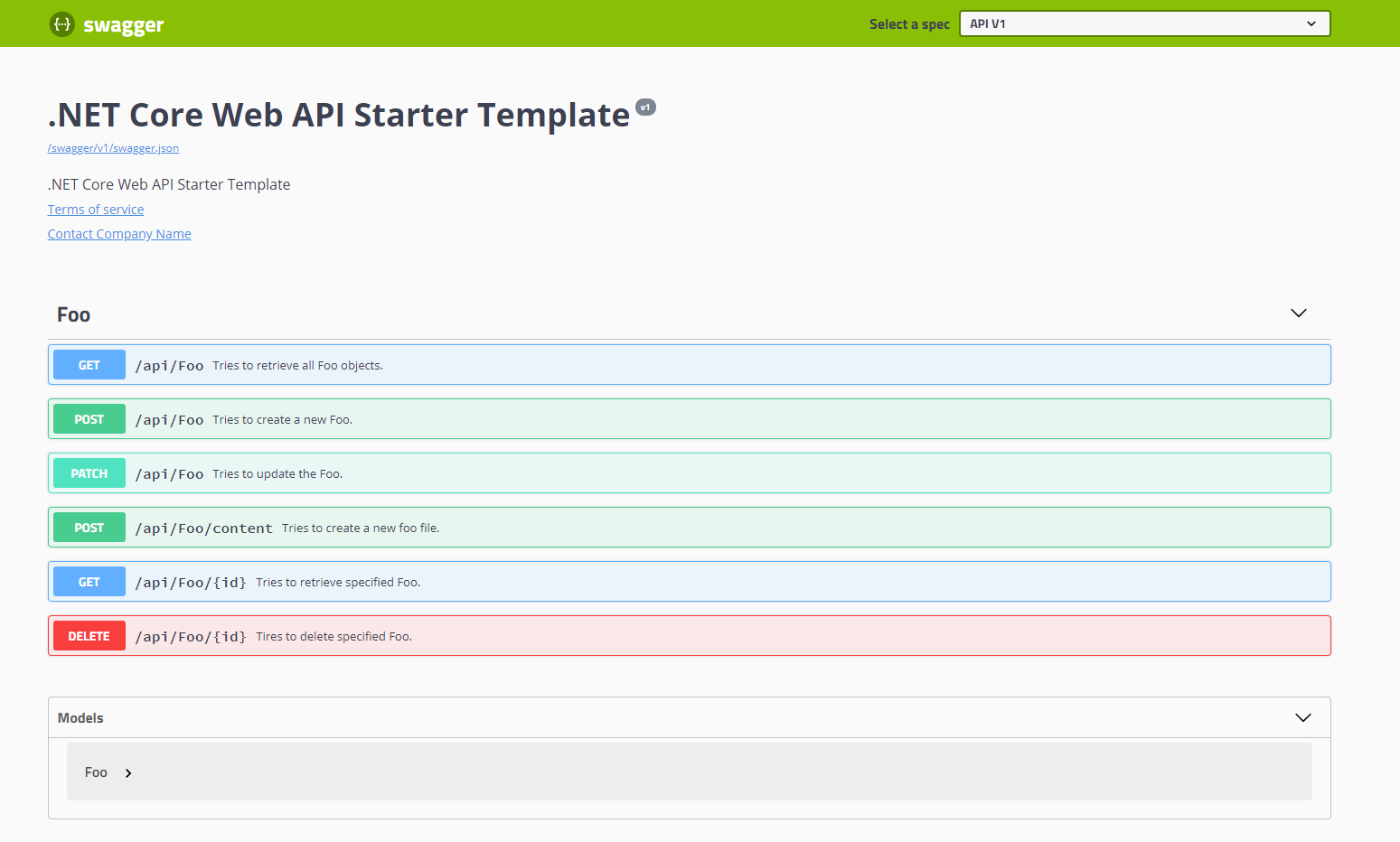 .NET Core Web API Starter Template