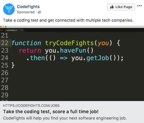 Codefights - Les exemples de publicité Facebook B2B & B2C