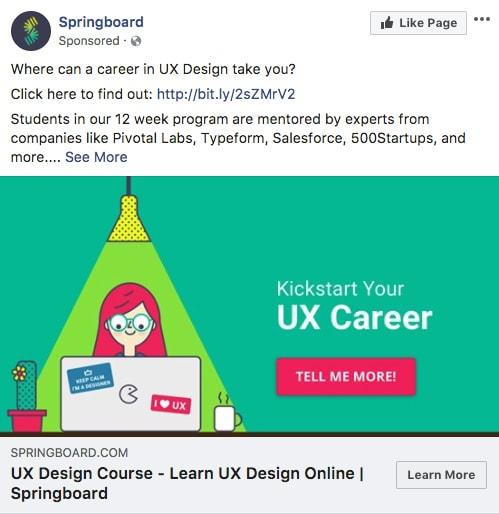 Springboard - Les exemples de publicité Facebook B2B & B2C