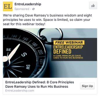 EntreLeadership - Les exemples de publicité Facebook B2B & B2C