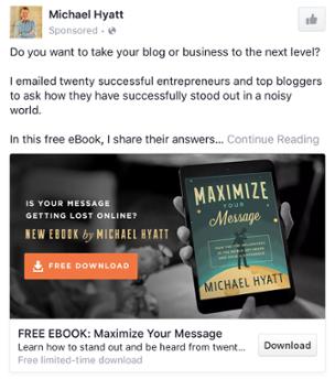 Michael Hyatt - Les exemples de publicité Facebook B2B & B2C