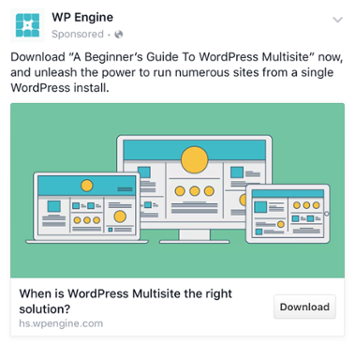 WP Engine - Les exemples de publicité Facebook B2B & B2C