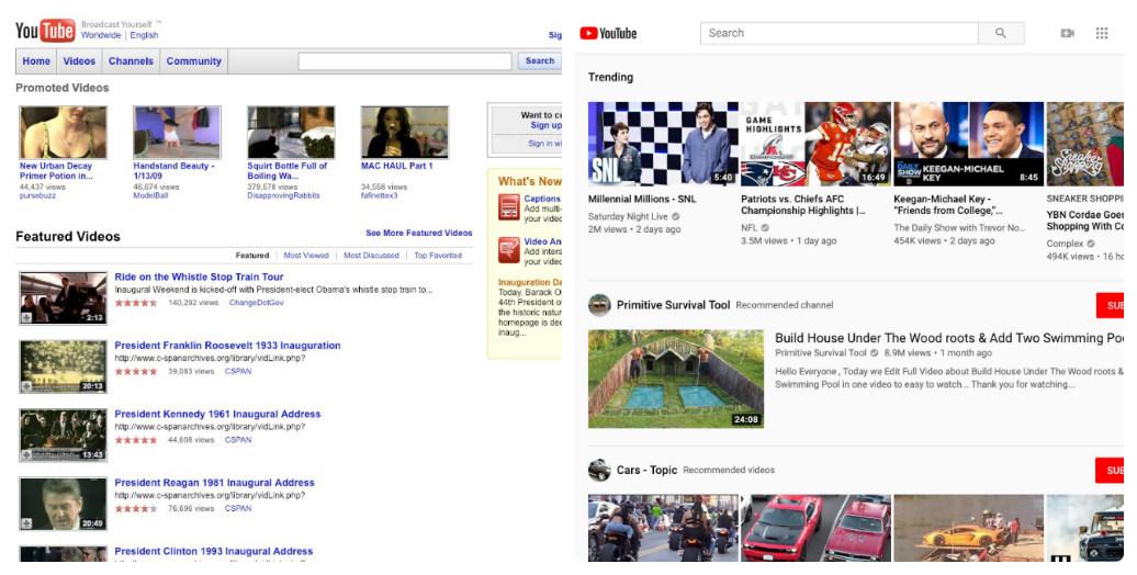 Web design - Youtube 2009-2019