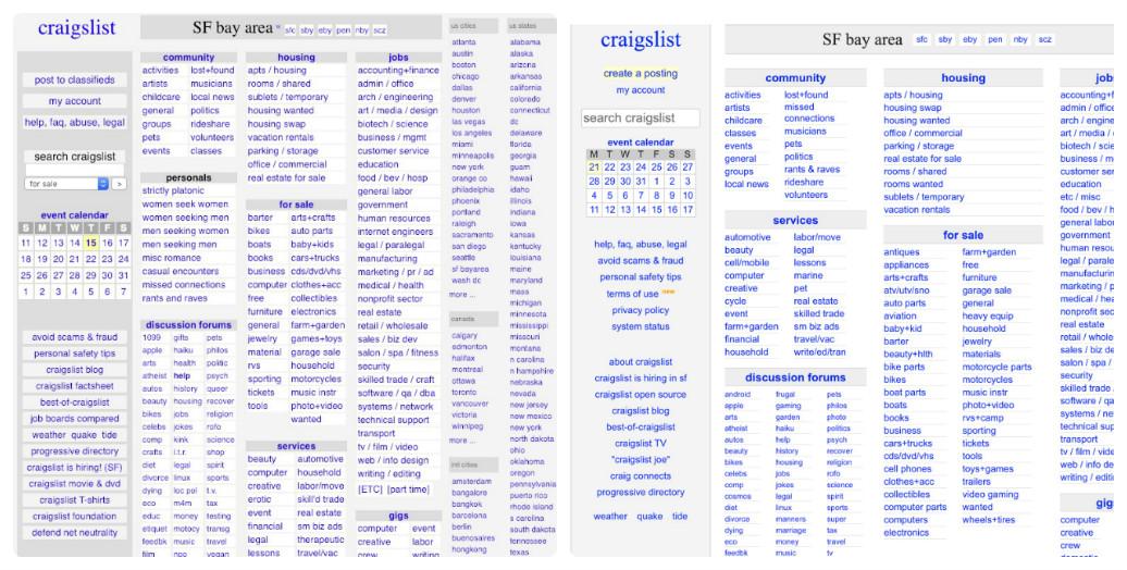 web design_Craigslis 2009-2019