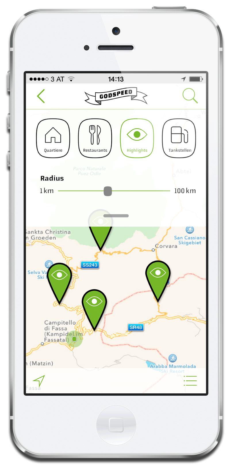 App Godspeed Biketours: Suche