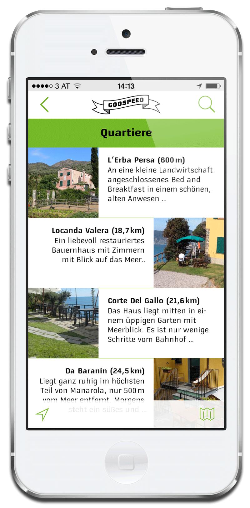 App Godspeed Biketours: Quartier-Liste
