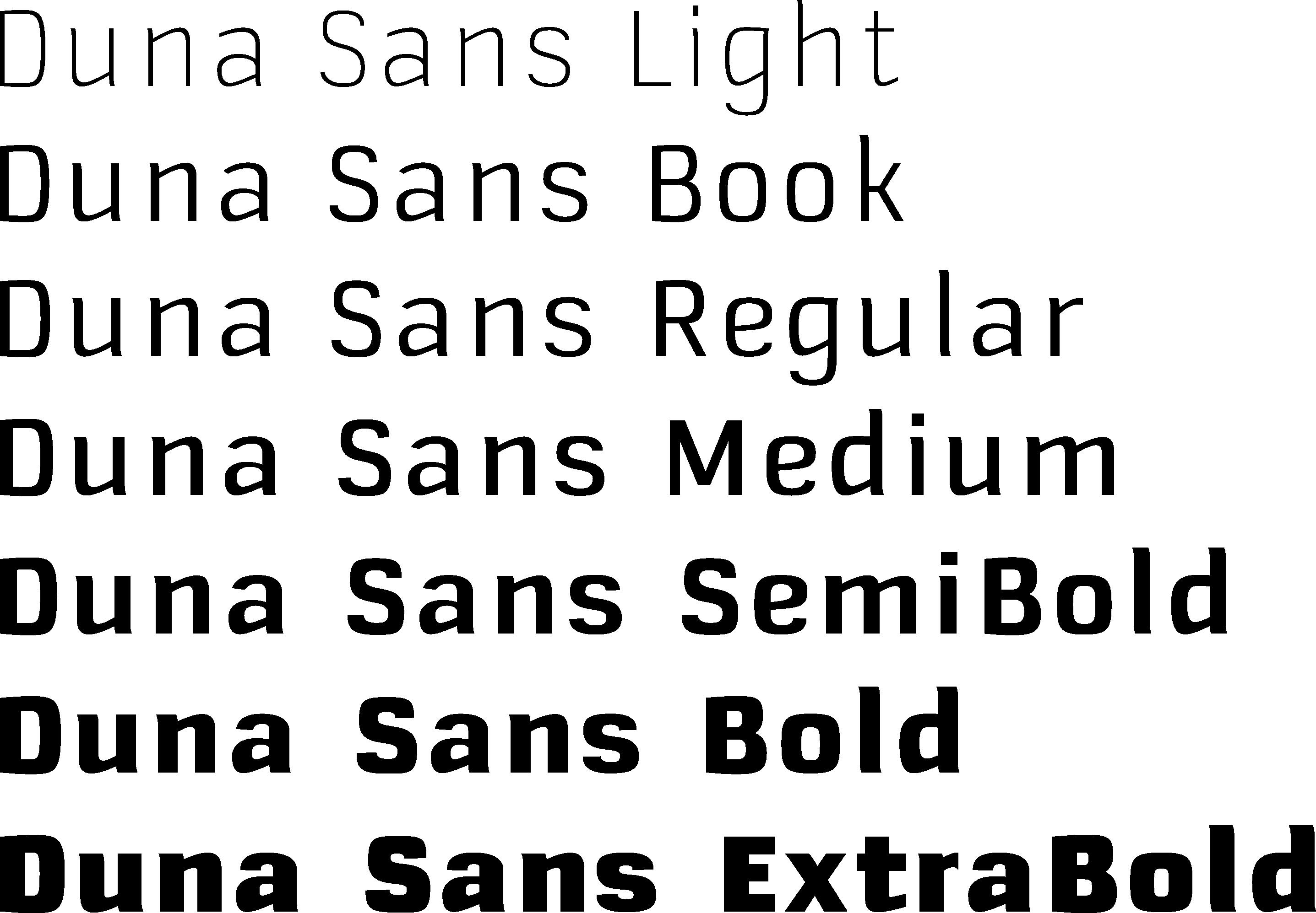 Schriftschnitte Duna Sans