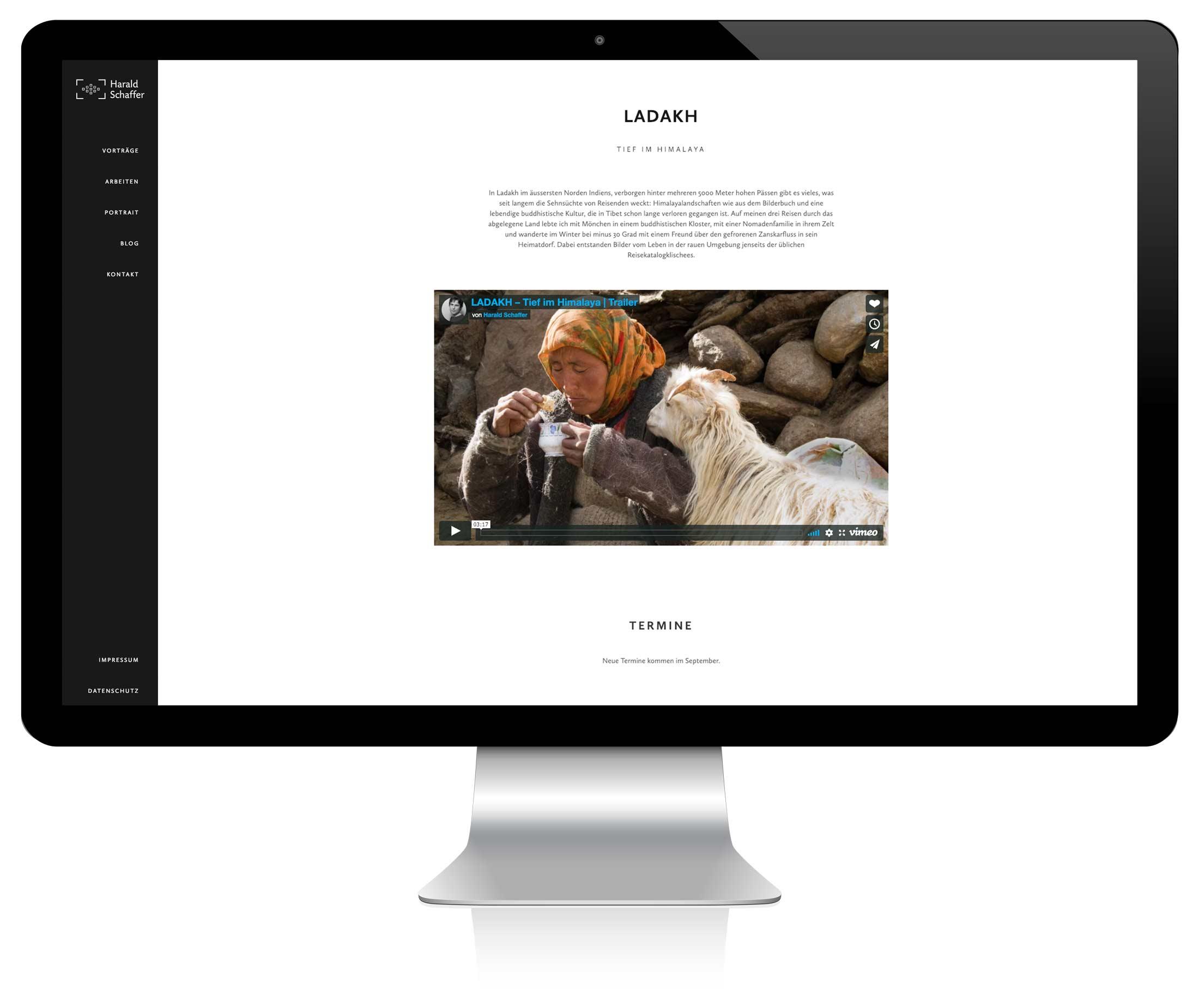 Harald Schaffer Website auf Computer-Bildschrim angezeigt