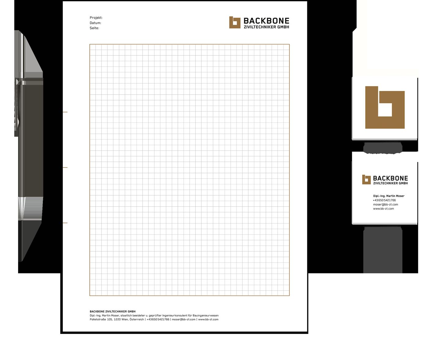 Backbone: Ziviltechniker-Block und quadratische Visitenkarten