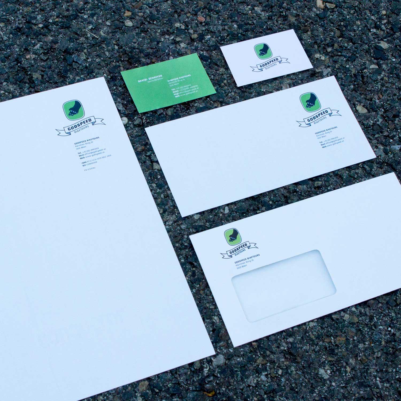 Geschäftspapiere Godspeed Biketours: Briefpapier, Visitenkarte (inkl. Rückseite), Kurzbrief, Kuvert