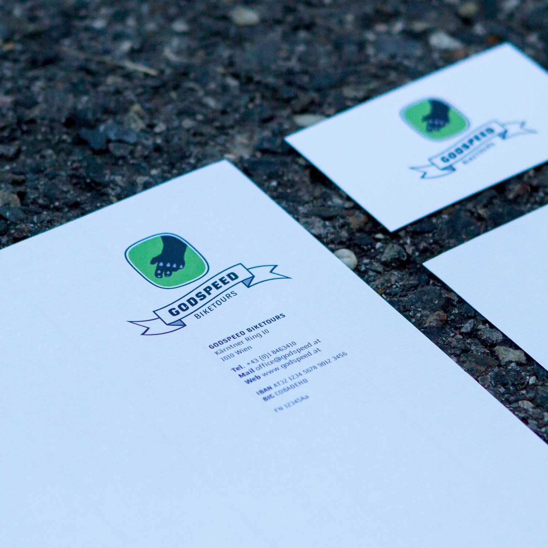 Geschäftspapiere Godspeed Biketours: Details Briefpapier und Visitenkarte