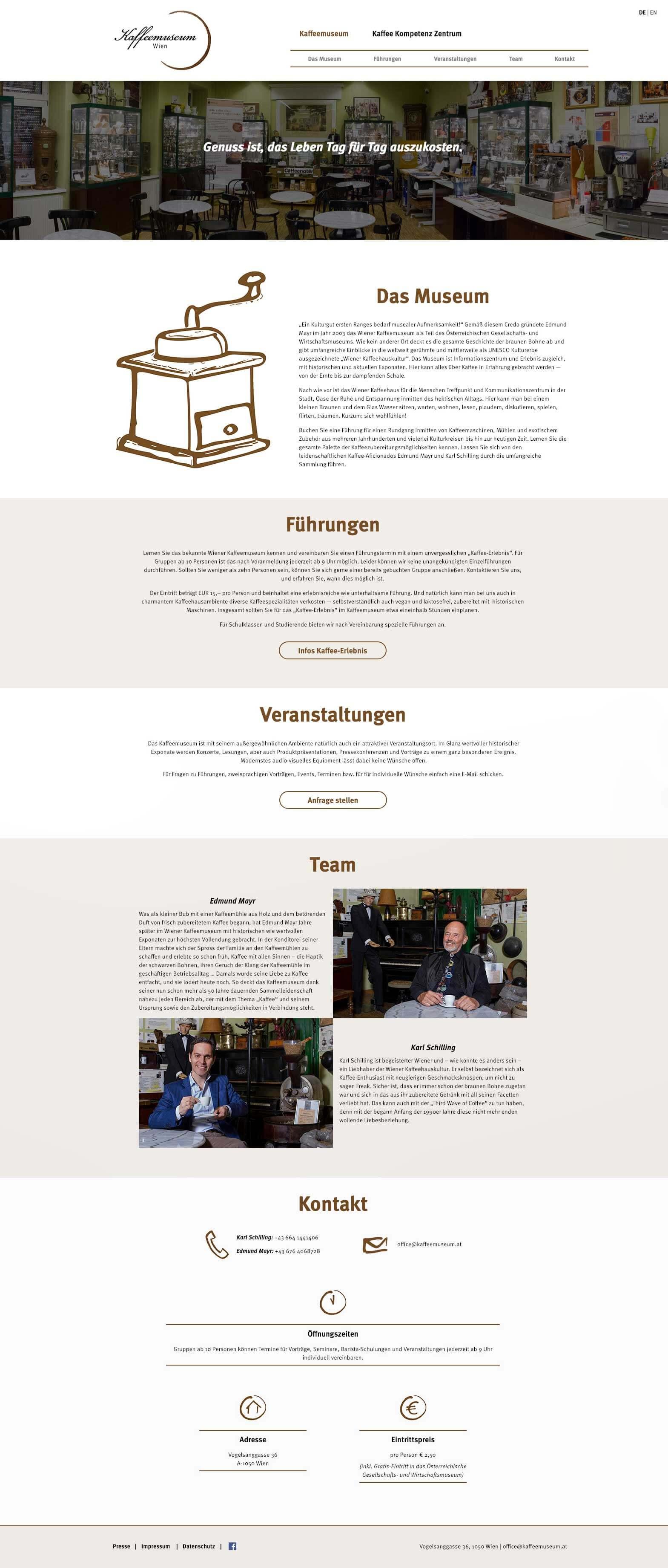 Website Kaffeemsueum Wien