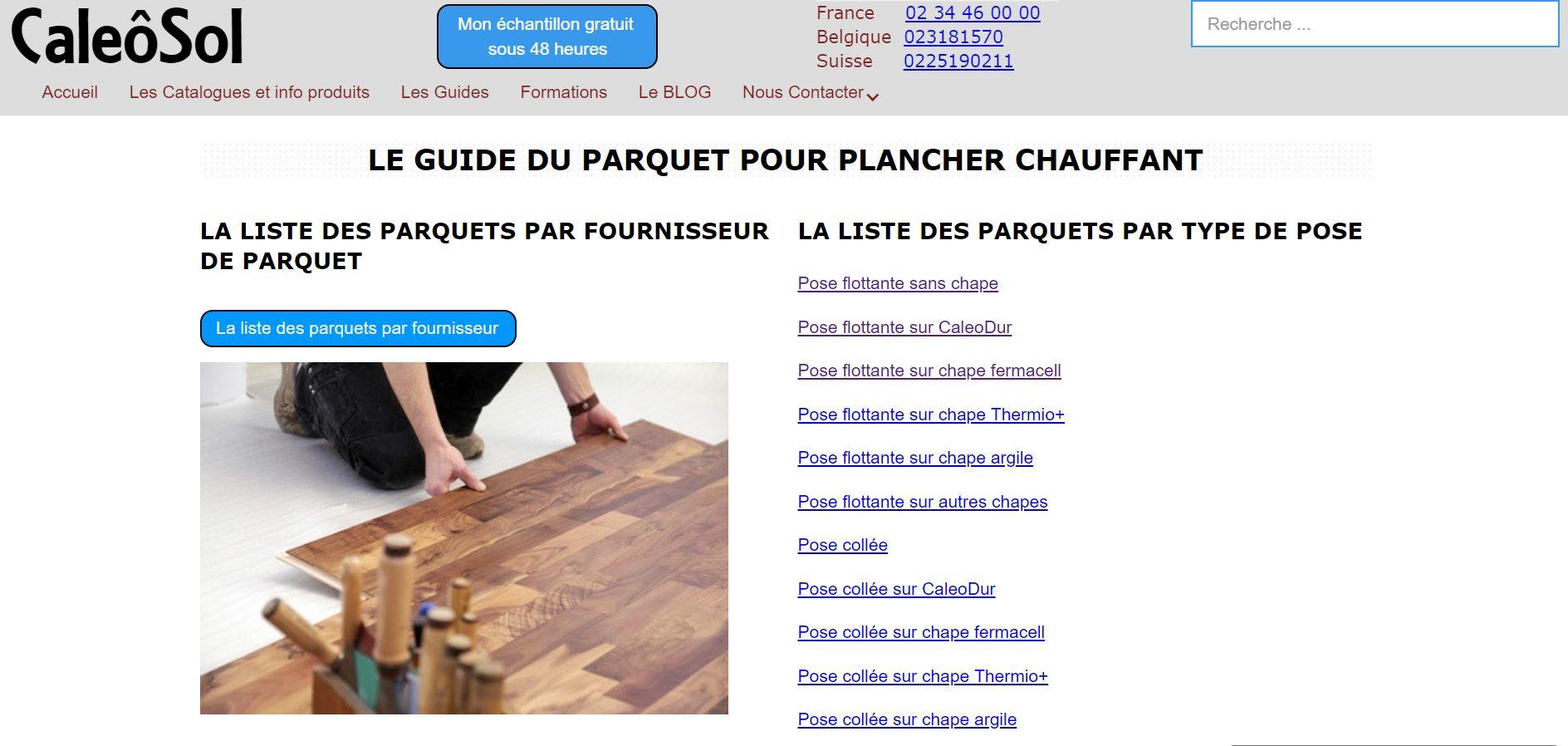Catalogue du parquet pour plancher chauffant