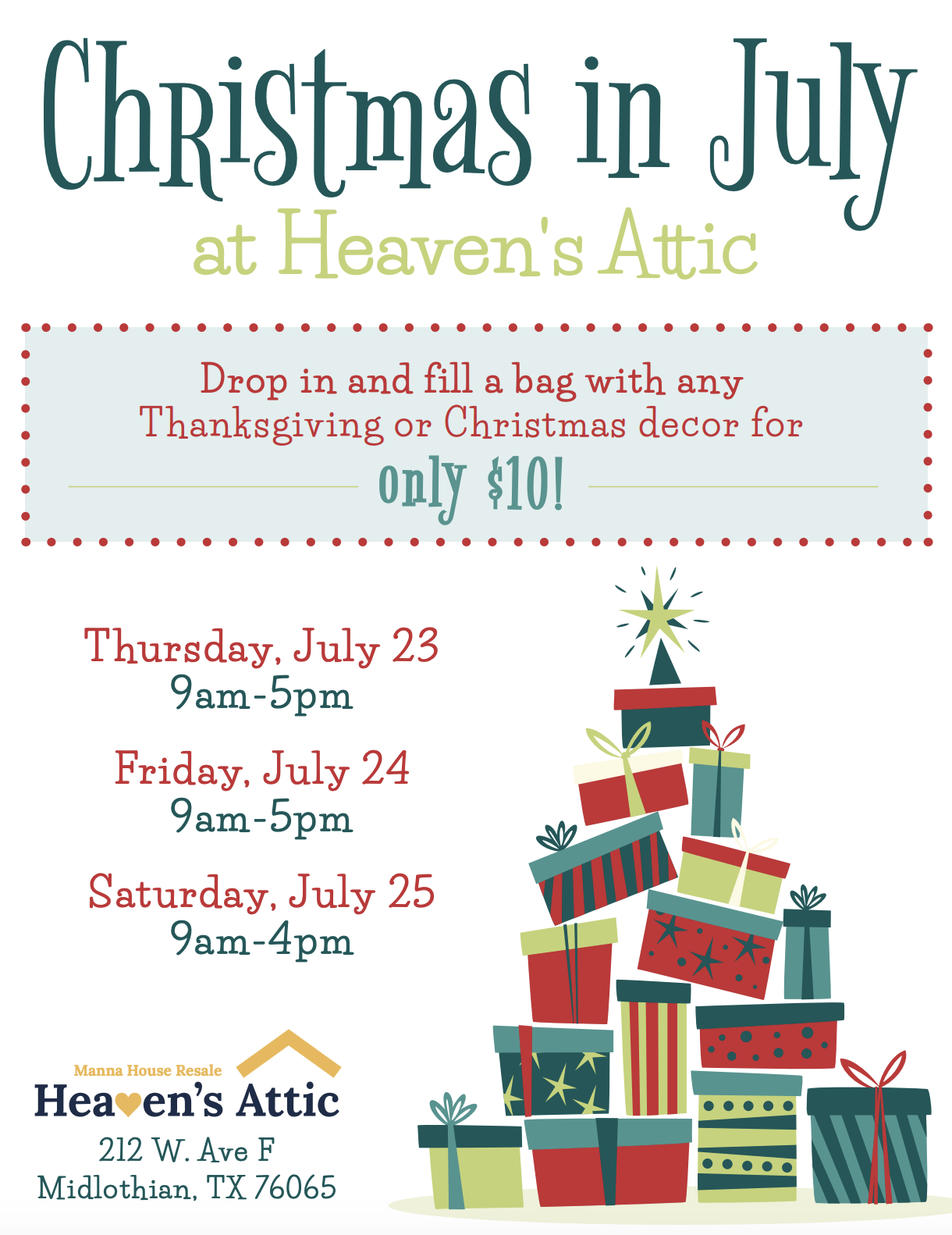 Heaven's Attic resale boutique thrift store Christmas in July sale promotion.