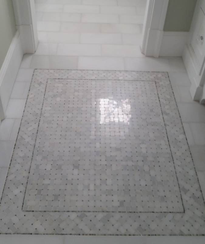 Polished marble tile floor