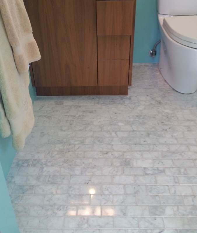 Marble tile after being cleaned and polished