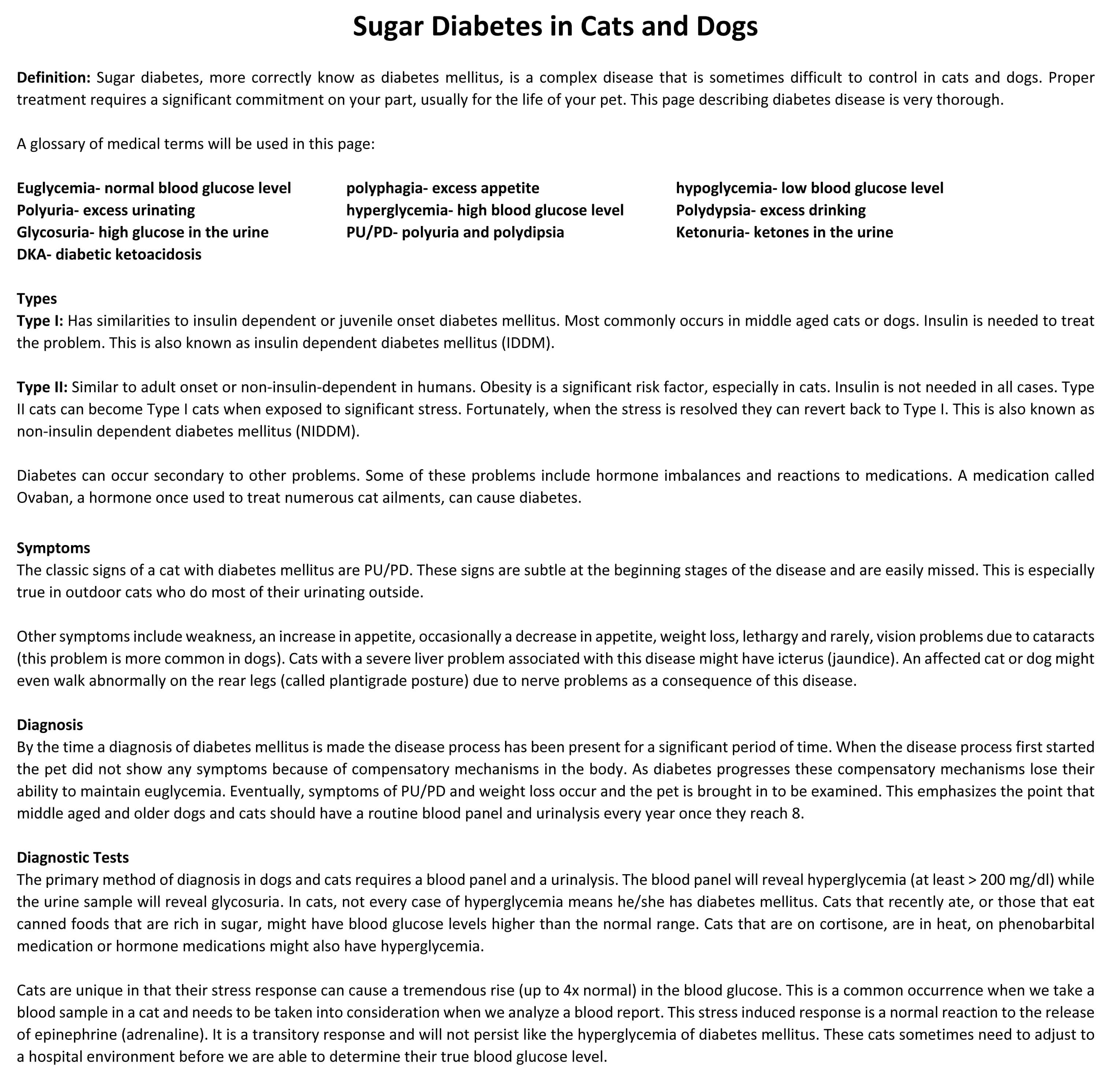 Diabetes Mellitus Information