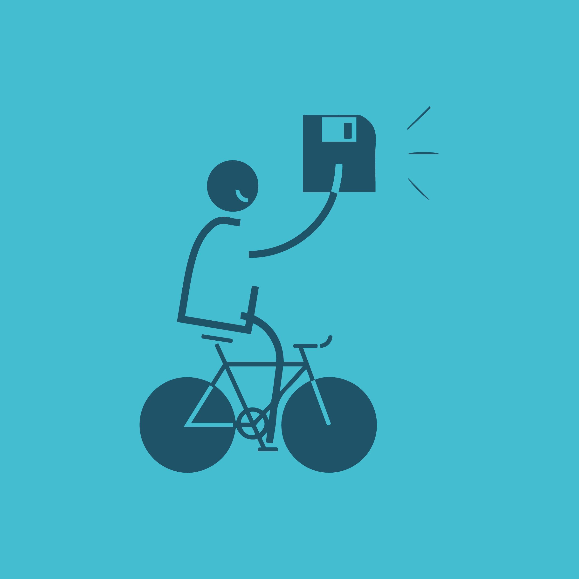Image of a stick figure riding a bike