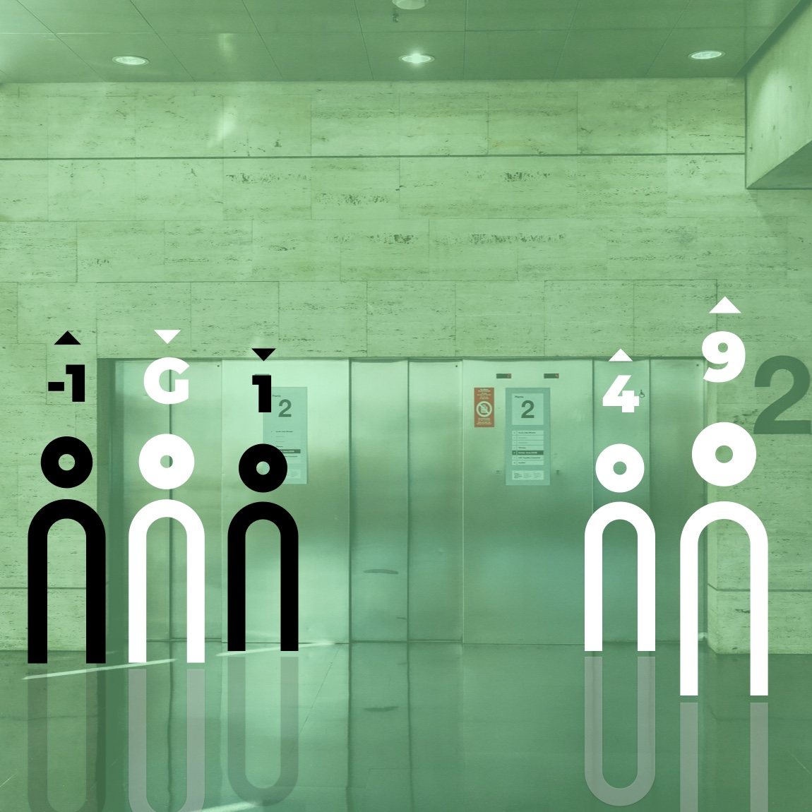 Image of two smart elevators and users