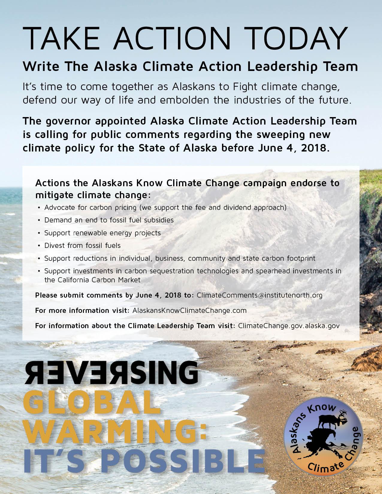 Write The Alaska Climate Action Leadership Team