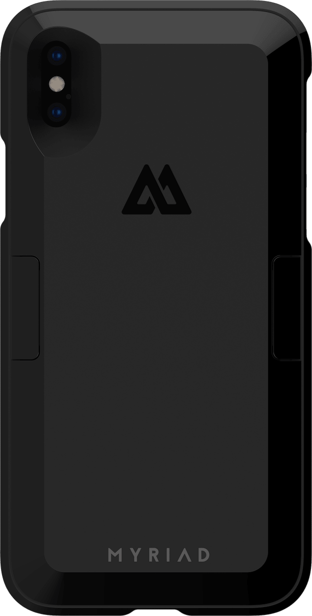 Front View of Myriad Case and Battery Module for iPhone X