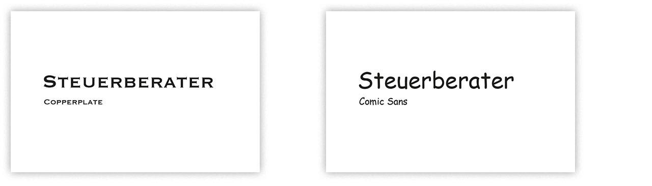 Visitenkarten Steuerberater, Vergleich Sopperplate & Comic Sans