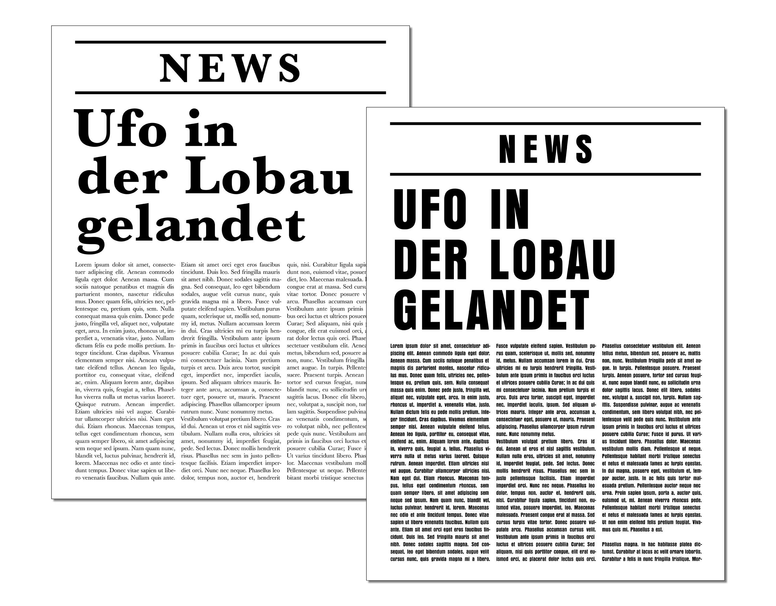 Zeitungsheadlines in unterschiedlichen Schriften