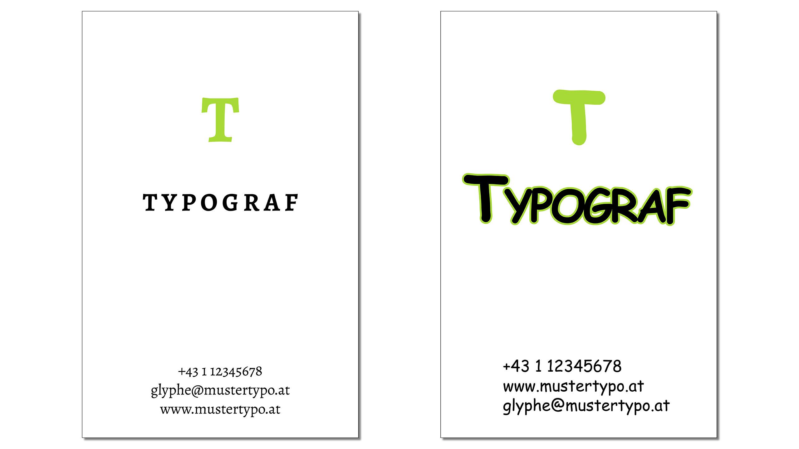 Vergleich zweier Visitenkarten in unterschiedlichen Schriften
