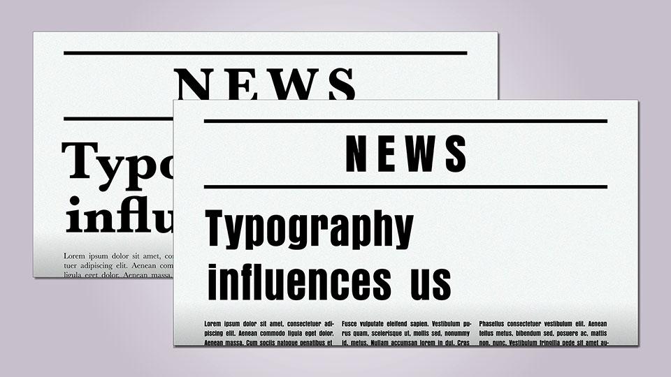 Zeitungsheadlines in zwei unterschiedlichen Fonts