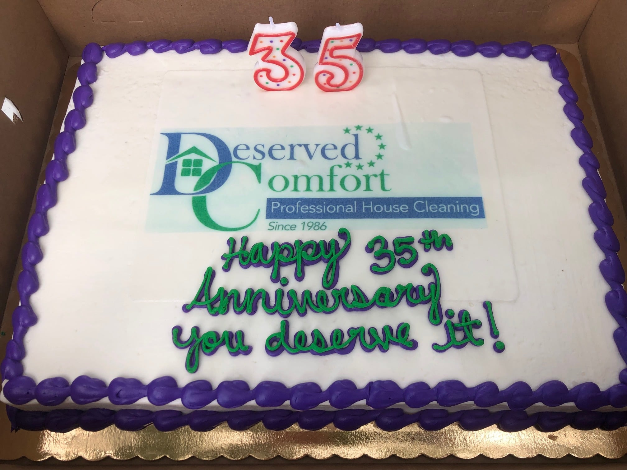 May be an image of cake and text that says '35 eserved omfort Professional Diomo House Cleaning k 1986 Since you deserve زt!'