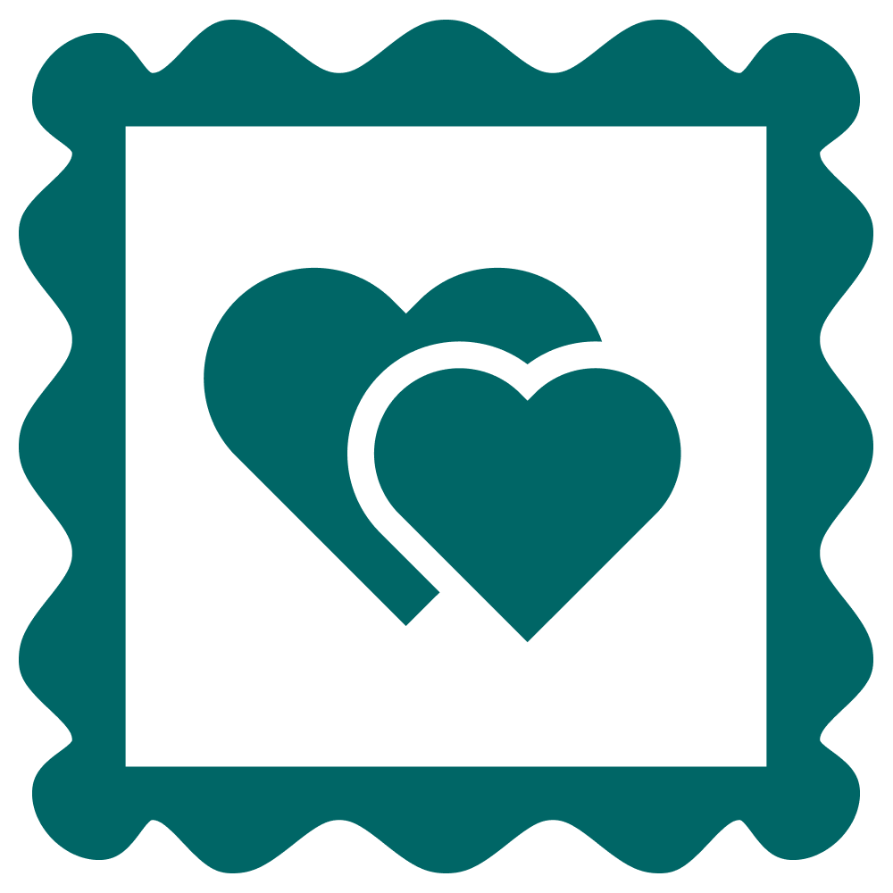 An image with illustration of hearts inside a postage stamp