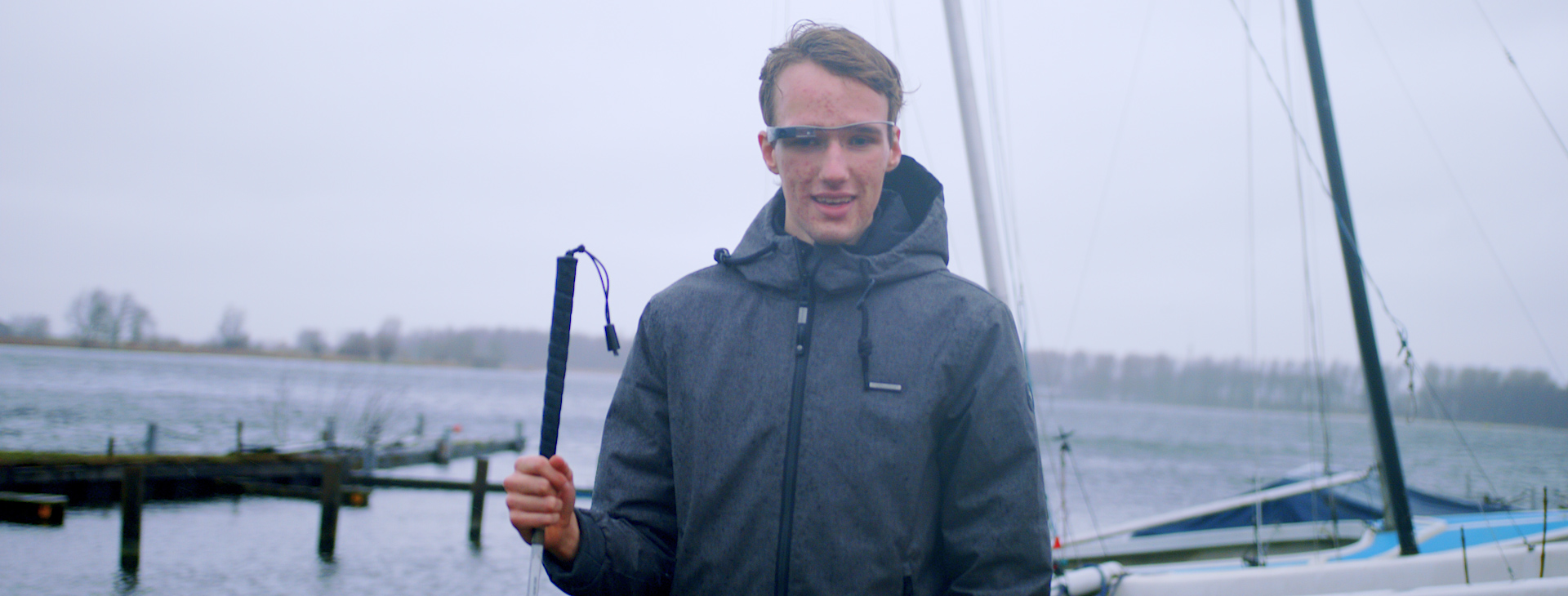 A user wearing the Envision Glasses