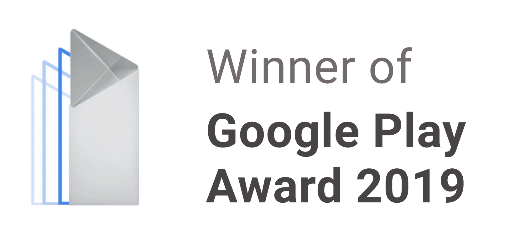 Banner reading Winner of Google Play Award 2019