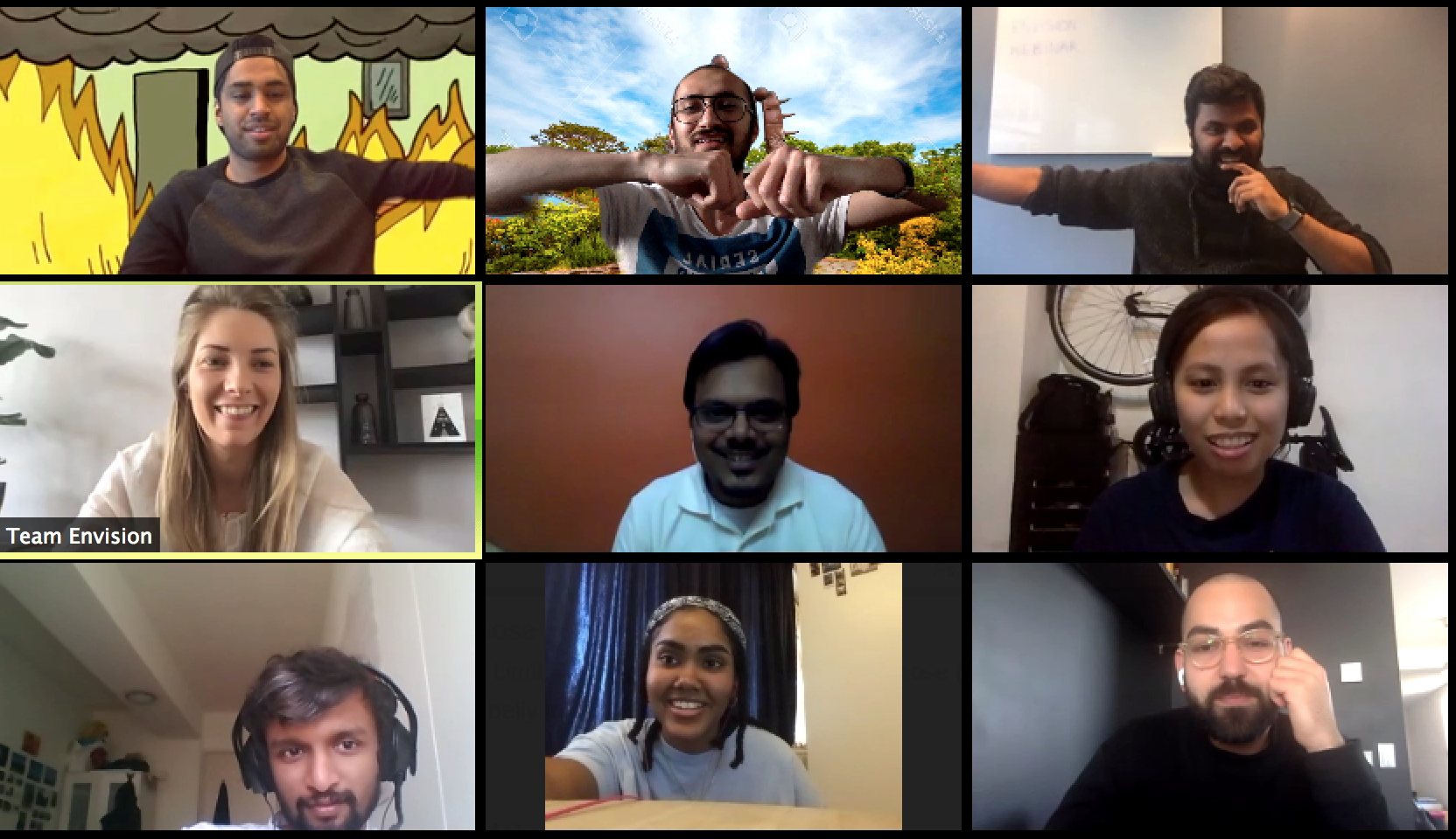 Screenshot of team Envision on a Zoom call goofing around