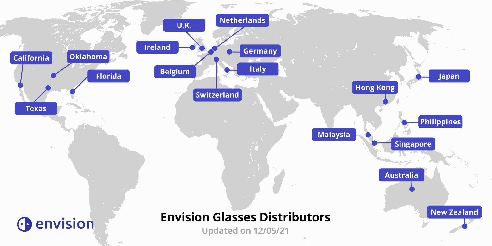 A world map visually showing all the regions where Envision Distributors are present