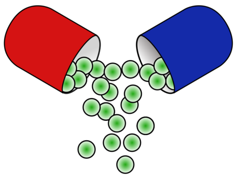 red and blue pill opening up and spilling green circles - AnimalBiome