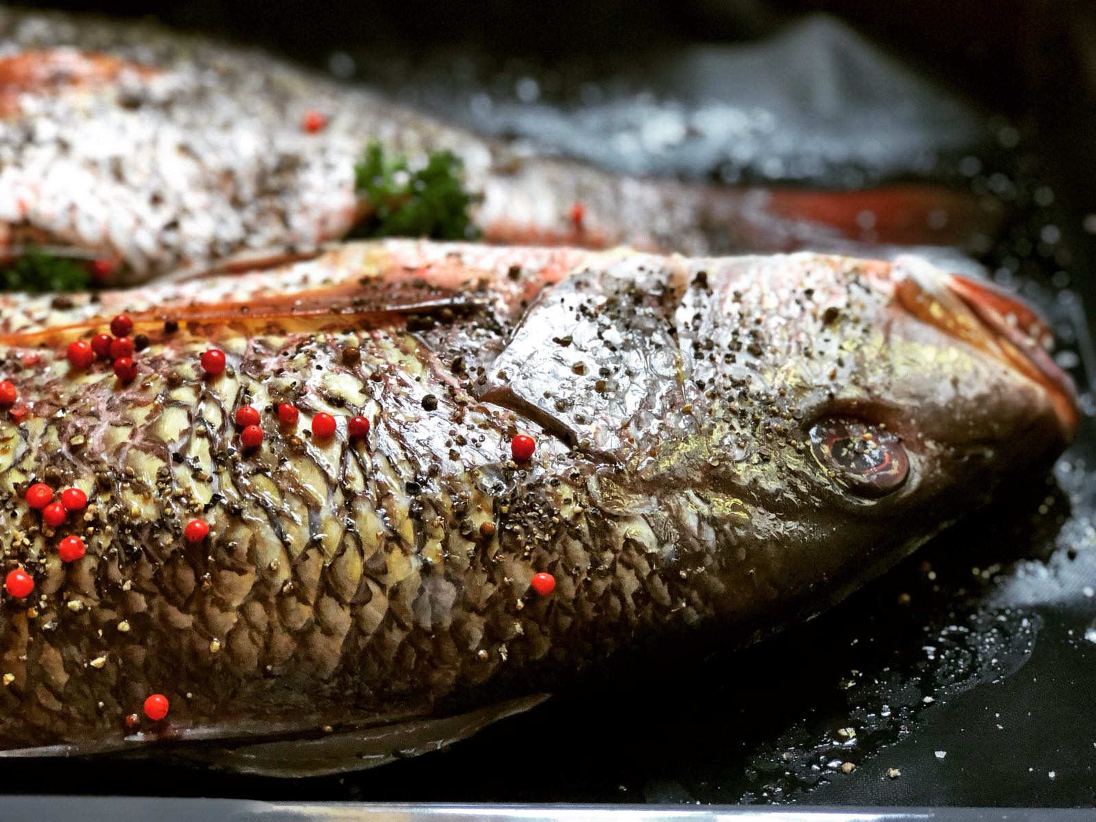 Red snapper with black pepper and pink peppercorn from Madagascar