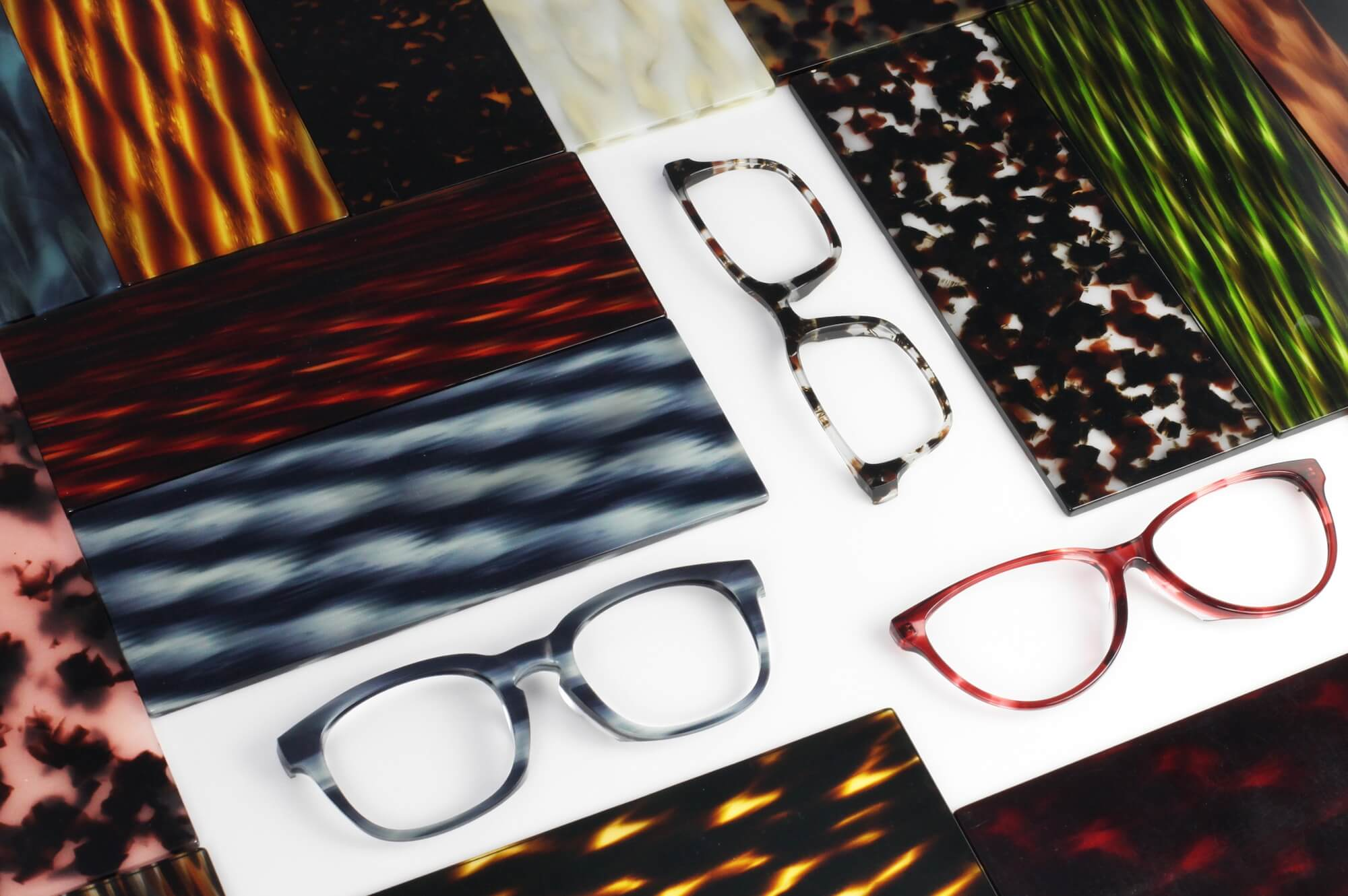 Custom acetate for bespoke eyeglasses and sunglasses