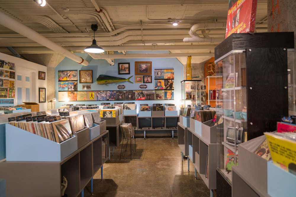 The inside of record and vinyl shop Kicksville Vinyl & Vintage on R Street in Sacramento for Visit Sacramento.
