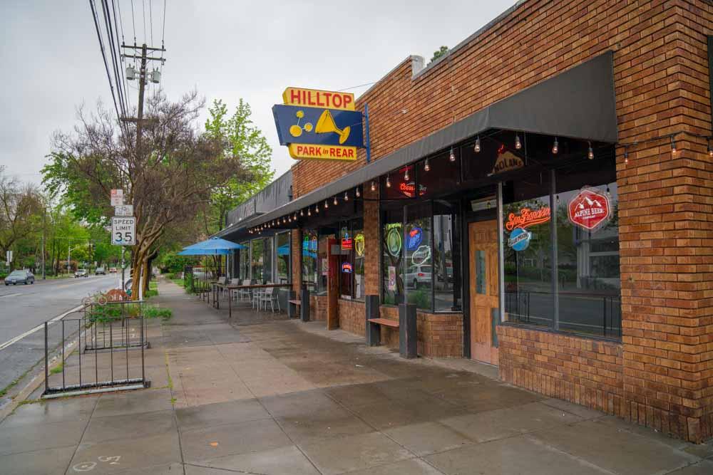Exterior of Hilltop Tavern in Sacramento, California