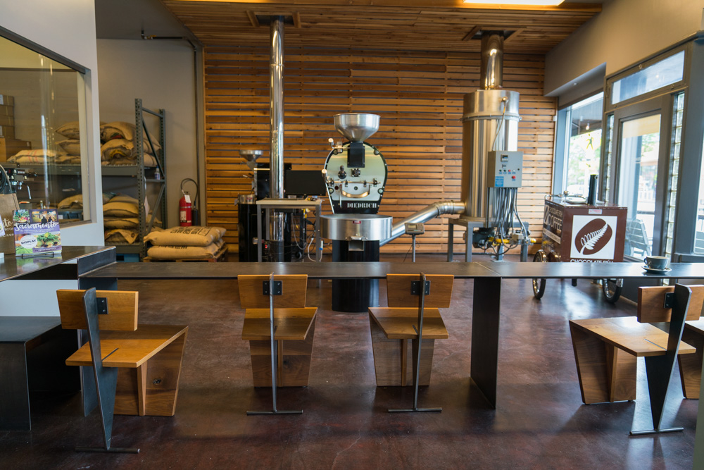 The roasters at Chocolate Fish Coffee Roasters in East Sacramento for Visit Sacramento.