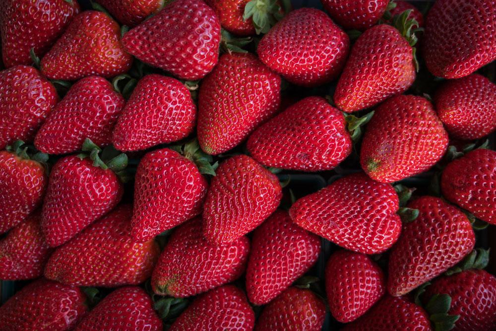 Strawberries at the Midtown Farmer's Market in Midown, Sacramento for Visit Sacramento.