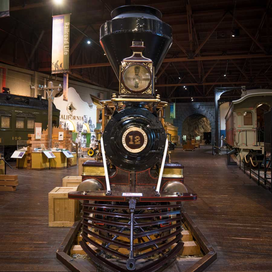 Trains at the California State Railroad Museum in Sacramento, CA
