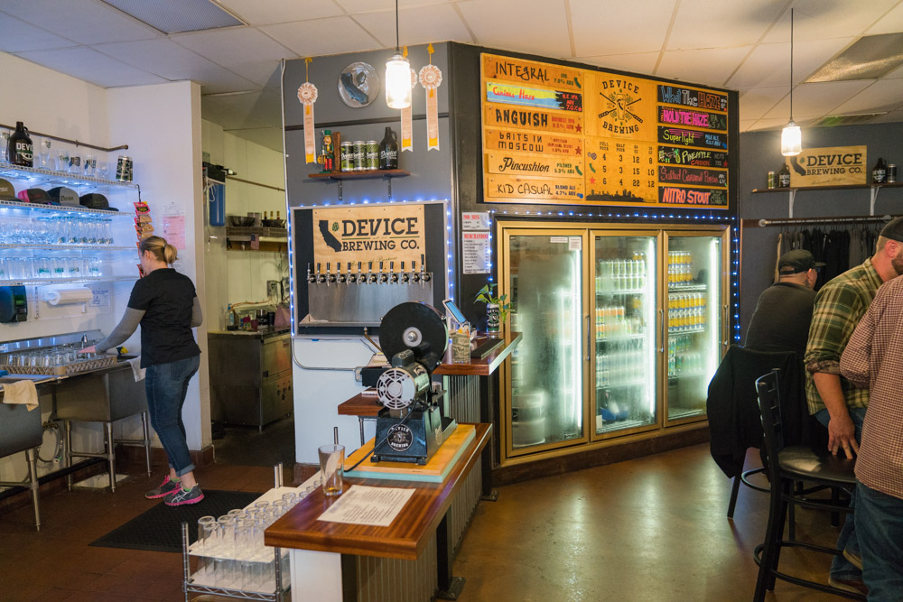 The inside of Device Brewing where people order pints of beer for Visit Sacramento.