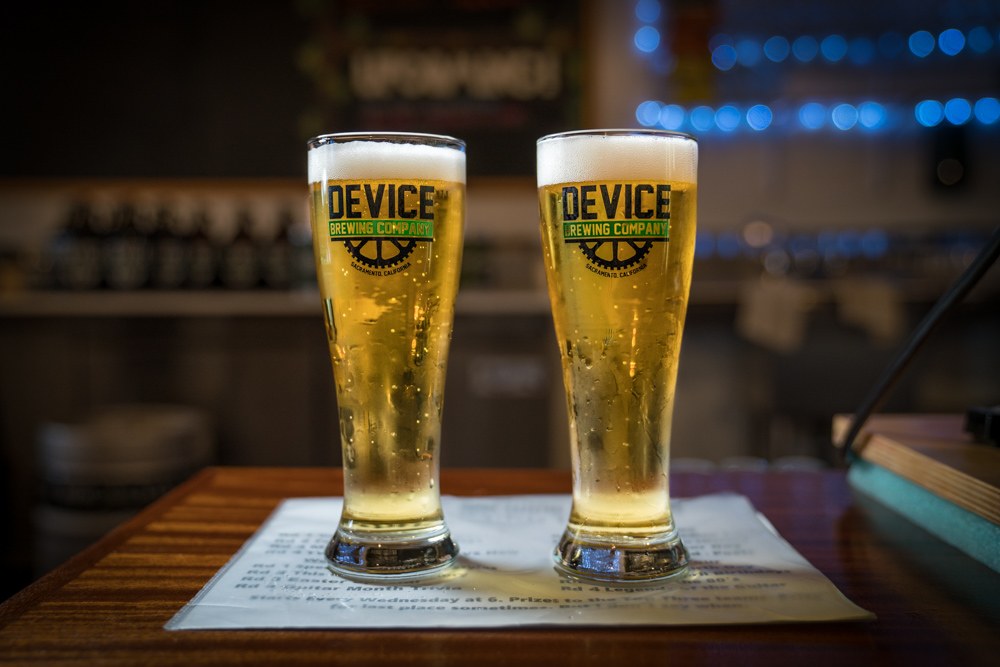 Beers at Device Brewing Company in Sacramento