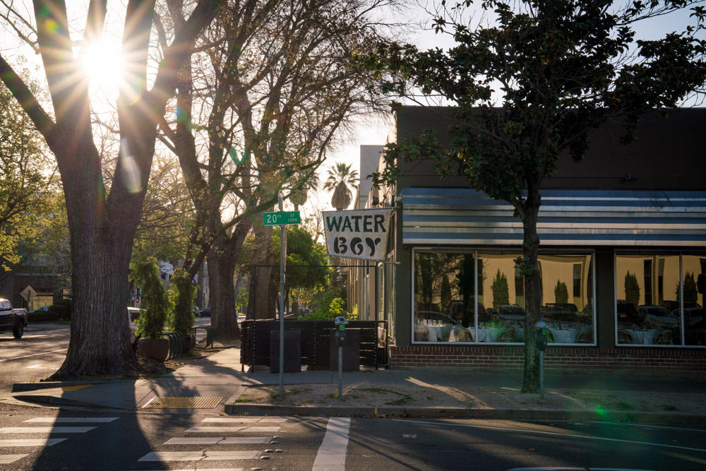 Exterior of The Waterboy, a farm to fork restaurant in Sacramento, CA
