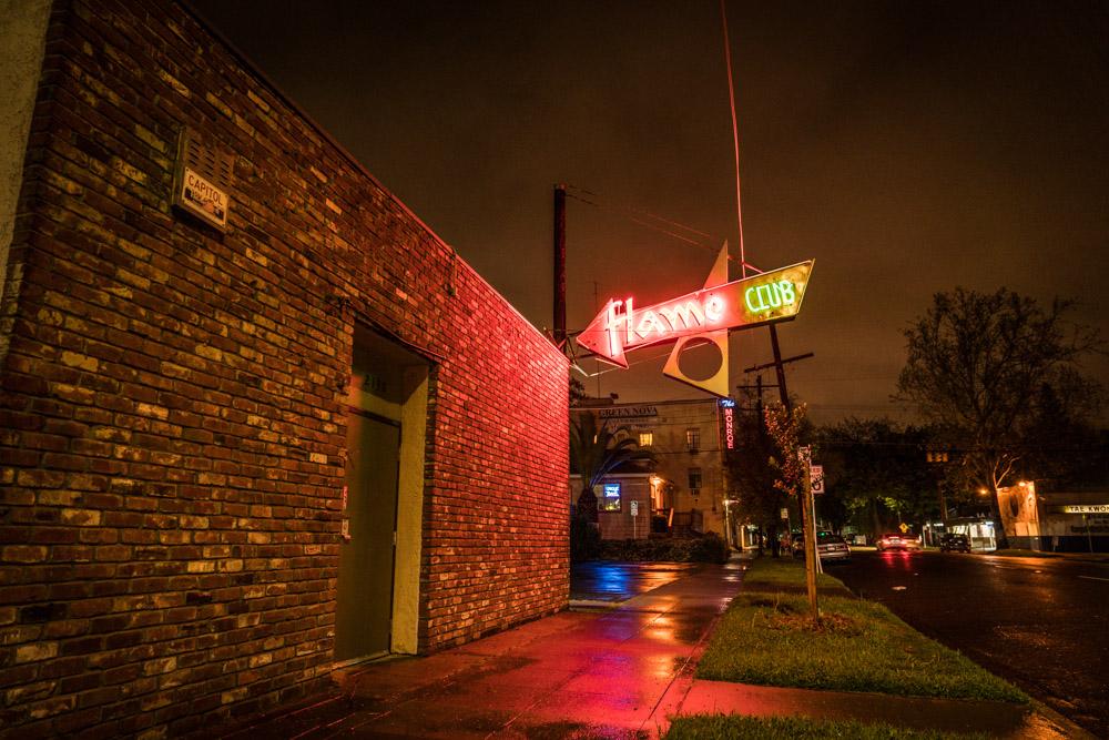 Exterior of Flame Club in Sacramento, CA