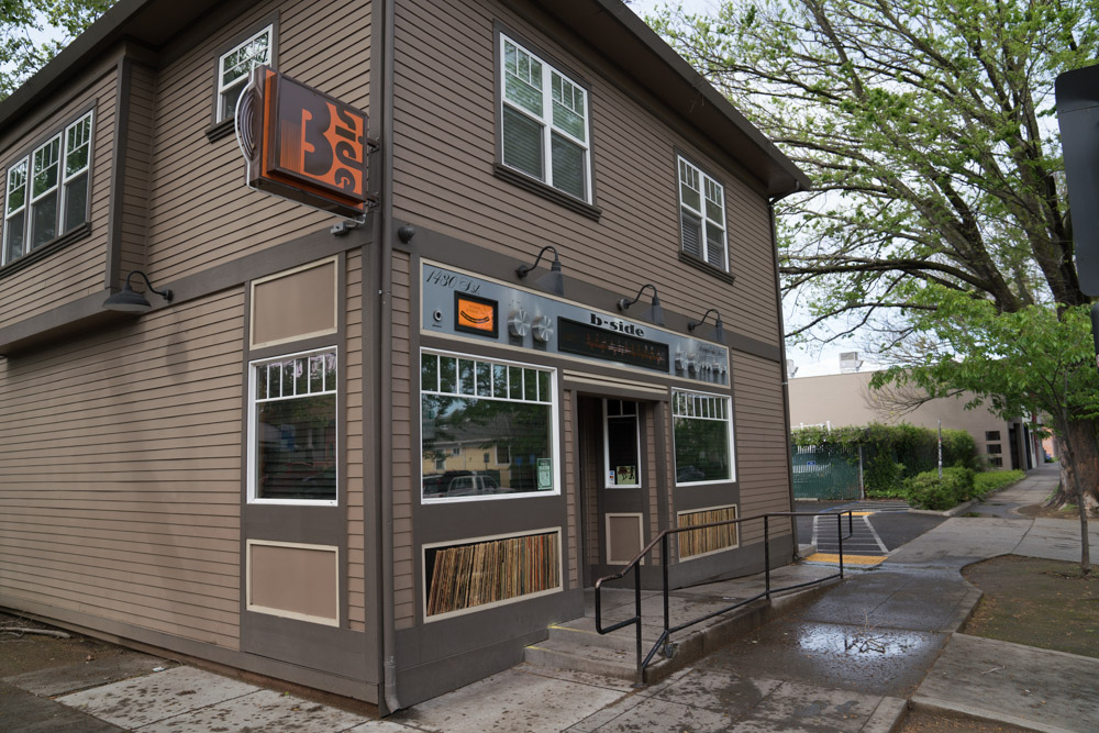 The front of B-Side in Midtown Sacramento for Visit Sacramento.